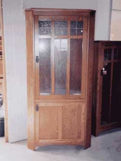 Amish Custom Made Two Door Curio with Antique Glass Top