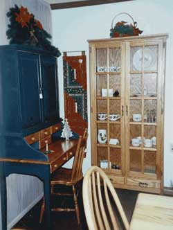 Amish Custom Made Oak Devinshire Cabinet with Two Lower Drawers