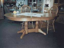 Amish Custom Made Oak Oval Table with Double Pedestal 4 Feet