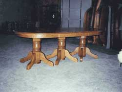 Amish Custom Made Oak Triple Pedestal with 10 Leaves