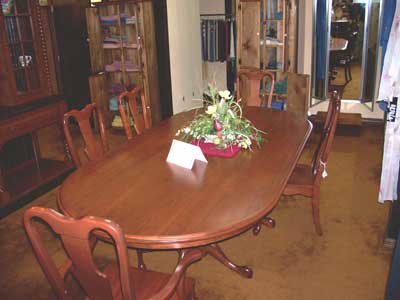 Standard Oval Cherry Solid Top Table with Double Queen Anne Pedestal