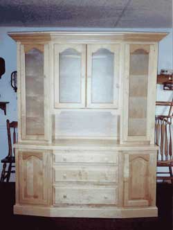 Amish Custom Made Natural Maple Beveled Front Hutch