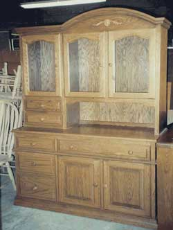 Amish Custom Made Oak Hoosier Hutch with 2 Upper Drawers