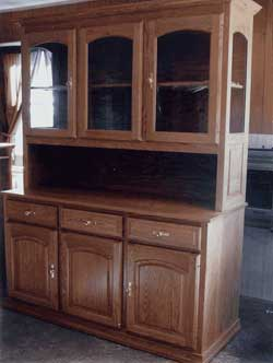 Amish Custom Made Oak Open Hutch with 3 Arched Top Doors