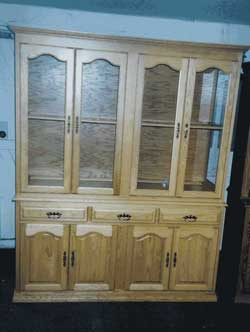 Amish Custom Made Oak 4 Door Closed Hutch with Cathedral Doors
