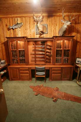 Locally Amish Custom Made Gun Cabinet Wall Unit Full View