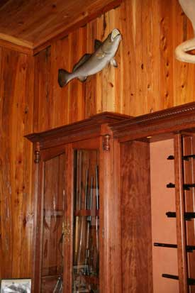 Locally Amish Custom Made Gun Cabinet Wall Unit Close up of Side Safe