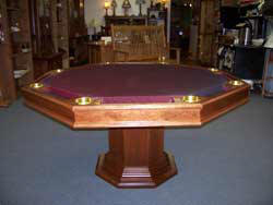 Locally Amish Custom Made Poker Table with the Dining Top Taken Off and Mission Platform Pedestal