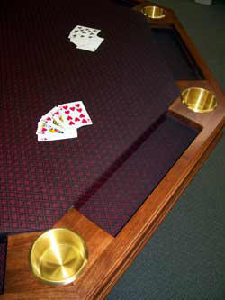 Locally Amish Custom Made Poker Table with Brass Cup Holders and Suited Fabric Chip Trays