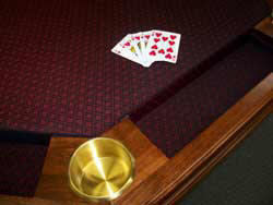 Locally Amish Custom Made Poker Table Close up of the Brass Cup Holders and Suited Fabric