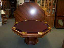 Locally Amish Custom Made Poker Table with Top set Behind It